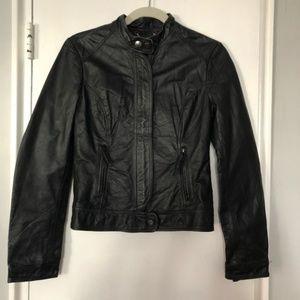 BB Dakota Black Leather Jacket - Small